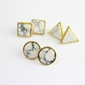New Natural White Turquoise Stone Gold Howlite Square Round Triangle Geometry Stud Earring For Women Fine