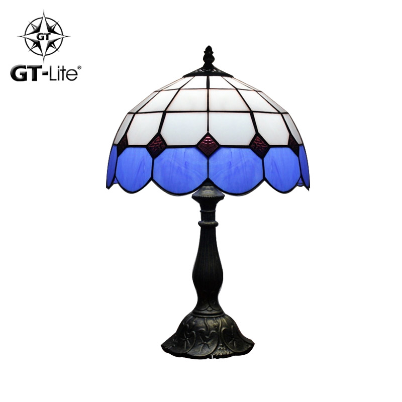 GT-Lite 2015 New Table Lamp Mediterranean Style Continental Tiffany Stained Glass Lamp Pretty Shade Abajur GTHH23(China (Main