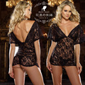On Sale Womens sexy lingerie Cleavage skirts Chemises Black lace Babydoll V sleepwear G string nightwear