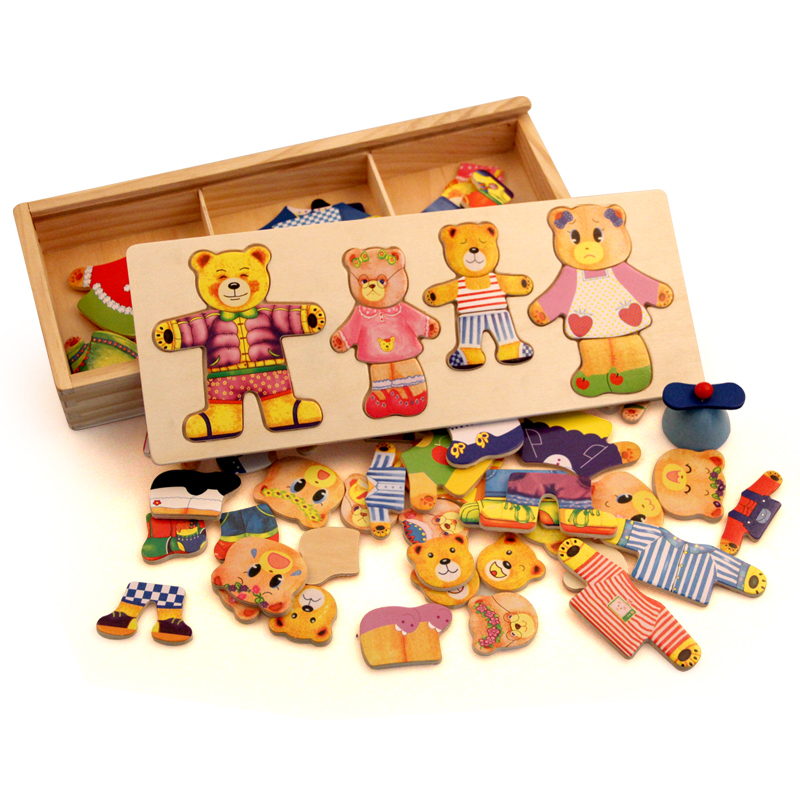 Wooden Bear Change Clothes Classic Bear Family Dress Jigsaw Puzzle Children Educational Wooden Toy Creative Wooden Toys(China (Mainland))