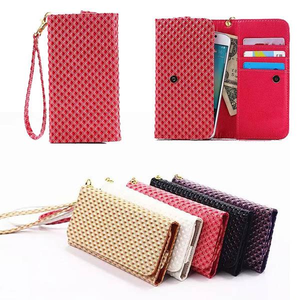 Grid Grain Flip Cover Wallet Bag Case For LG Optimus L9 P760 / L90 D410 Universal Leather Strip Portable Phone Pouch (M)(China (Mainland))