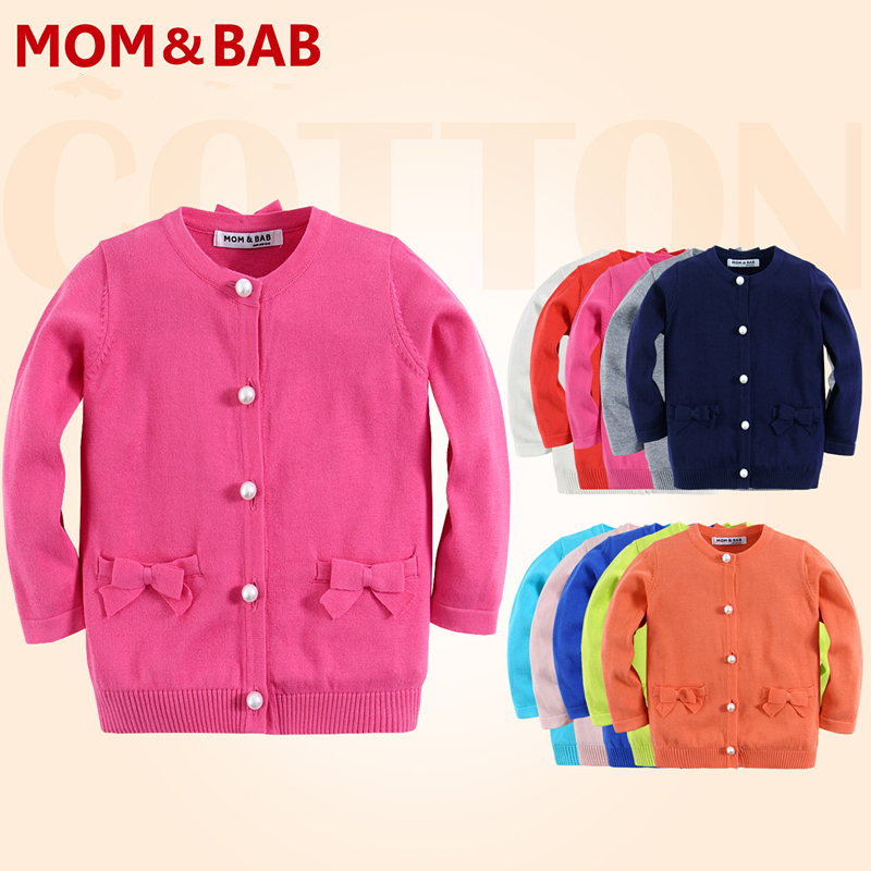 MOM AND BAB 2016 New Style Spring Kids Sweater Baby Girl Knitted Sweater Cardigan Solid Pearls Button 10 Colors Baby Clothes(China (Mainland))