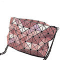 Edgy Geometric Plaid Chain Bag Fashion Rhombic Chequer Bag Women Crossbody Bag Stylish Splicing Ladies Designer