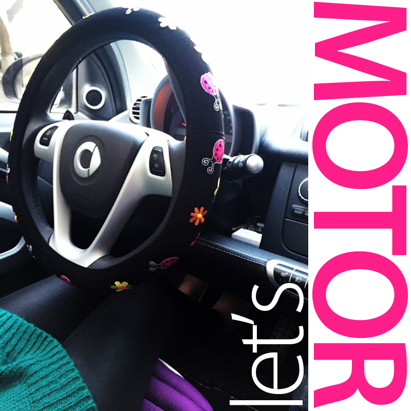 Steering wheel cover with embroidery beetle flower for mini smart car accessories girl car swc(China (Mainland))