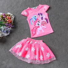 Retail 2016 New Summer Kids Girls Clothing Set Elsa t shirt + Dress Cotton Baby Girls Suits Set fashion Children Girl Clothes(China (Mainland))
