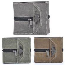 2015 Classic Durable Fashion Casual Retro Manmade Canvas men wallet short wallet Hot sale 3 colors