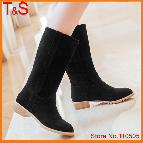 Hot Sale Spring Women's Fashion Boots Pointed Toe Flock Mid Calf Boots Female Square Low Heel Boots Solid Beige Shoes LCCC0