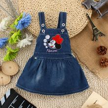 new 2015 cute cartoon baby clothing girls denim dresses kids overalls dress summer bibi casual dress for girls(China (Mainland))