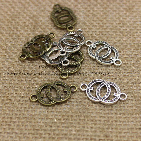 Free Shipping (50pieces/lot) 14*25mm two color Metal Alloy two circles Jewelry Connectors Charms for Bracelet Making(China (Mainland))