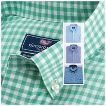 La USA marque la plus populaire vignes du vignoble hommes shirts en coton couleur unie à carreaux tartan manches longues vignes du vignoble chemises(China (Mainland))