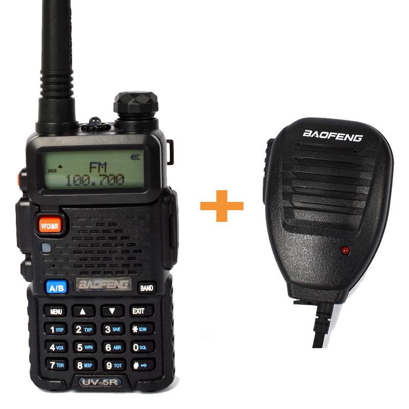 Baofeng 5W Ham Radio Dual Band VHF UHF walkie talkie 1800mAh Li-ion 128CH interphone Transceiver UV5R+handheld microphone(China (Mainland))