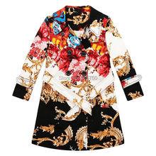 2015 Brand New Girls Jackets Coats Totem Pattern Children Jackets Kids Winter Coat Girls Outerwear Windbreaker