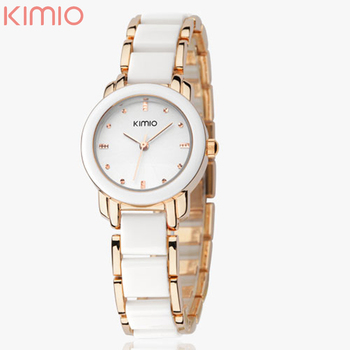 Brand Eyki Kimio 2016 Ladies Imitation Ceramic Watch Luxury Gold Bracelet Watches with Fine Alloy Strap Women Dress Watch