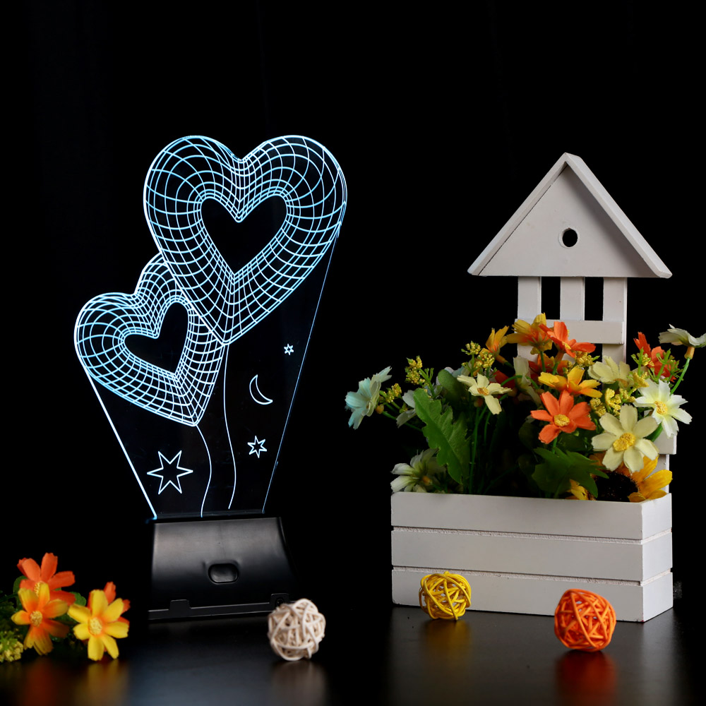 Valentine's Day Christmas Gift 3D Visual LED Night Light Creative Lava Table Lamp Novelty Lighting luz de noche Rose/Heart/Sky(China (Mainland))