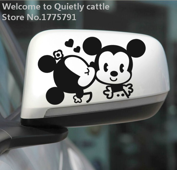 Free shipping Mickey couple car sticker citroen c4 audi a4 opel astra renault skoda rapid renault logan applies to all models(China (Mainland))