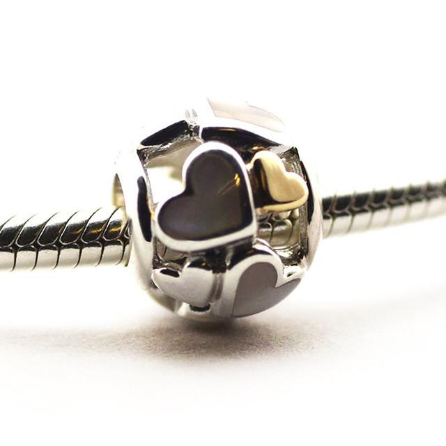 Новый горячая распродажа подходит для Pandor браслеты оригинал 925 - серебро бусины световой сердца шарм DIY бусины оптовая продажа