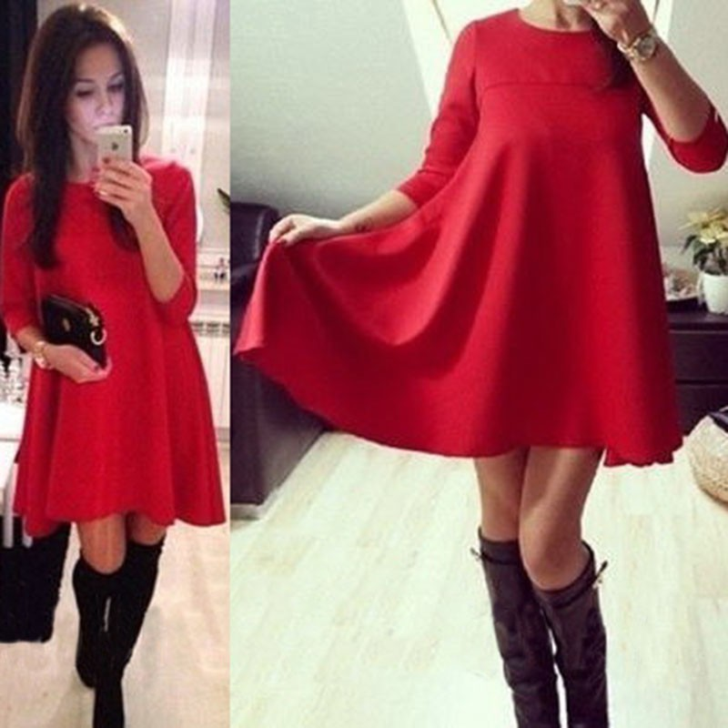 Wholesale 2015 New Year Red Bule Color Warm Female Dresses ...