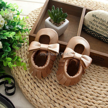 New Style Genuine Cow Leather Baby Moccasins with bow Soft girls Moccs Baby Newborn Baby firstwalker Anti-slip Infant Shoes(China (Mainland))