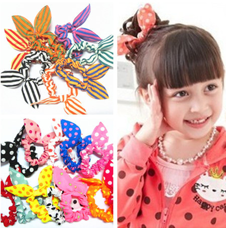 10 Pcs/lot Mini Small Bunny Rabbit Ears Headband Hair Rope Rubber Bands Baby Girls' Kids Cute hair Accessories - ARTY Professional store