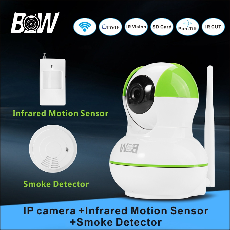 Hot BW Smart Home IP Camera +Infrared Motion Sensor Smoke Detector Wireless Alarm System Video Surveillance Night Camera BW012GR(China (Mainland))