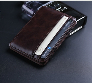 New Arrival Fashion Leather Men Magic Wallets Money Clip Retail Purple High Quality Card and Coin