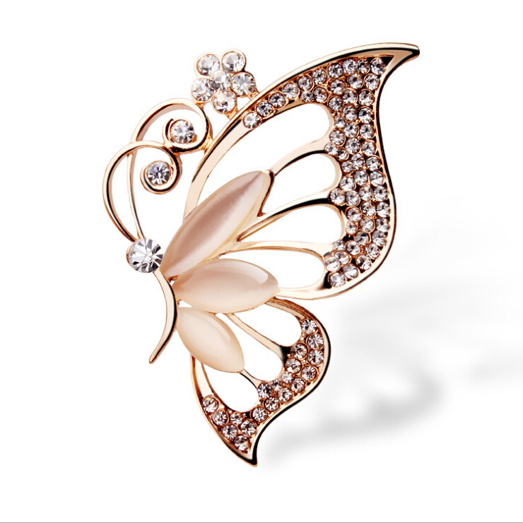 Rose Gold Plated Opal Butterfly Brooches for Women Girls Suit Boutonniere Christmas Gift Gorgeous Brooch EXZ0054(China (Mainland))