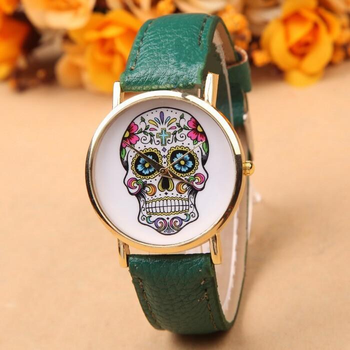 2015 di gin cranio moda casual orologi al quarzo braccialetto di cuoio del vestito delle signore di sport orologi di marca donne della vigilanza reloj mujer  (China (Mainland))