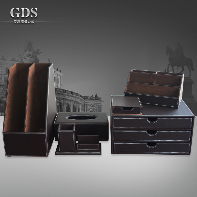 Brown 6 PCS/set leather office desk stationery accessories organizer pen holder note case mouse mat roll tissue box