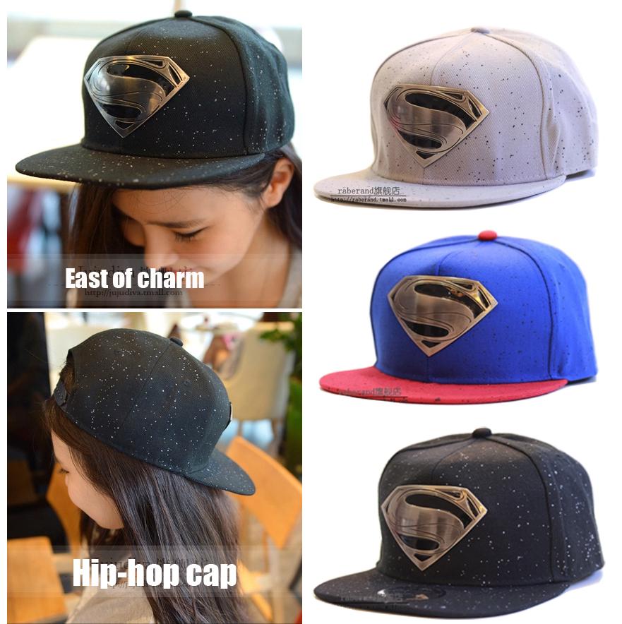 Unisex Fashion Super Man Snapback Hat Snapback Cap Hip Hop Pure Color Metal Logo Flat Along Visor Snap Back Hip-Hop Cap gorras(China (Mainland))