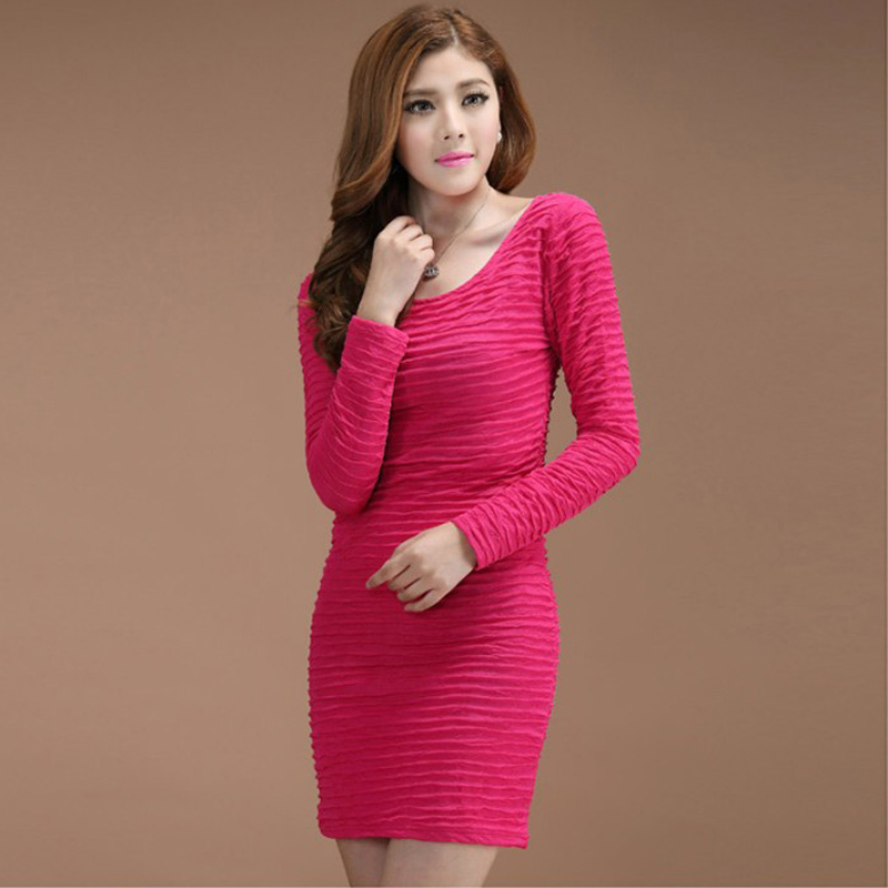 2015 New arrival Women Plus Size Clothing Woman Big Size Dress Large Size Long Sleeve Sexy Bodycon Dresses Vestidos Femininos(China (Mainland))
