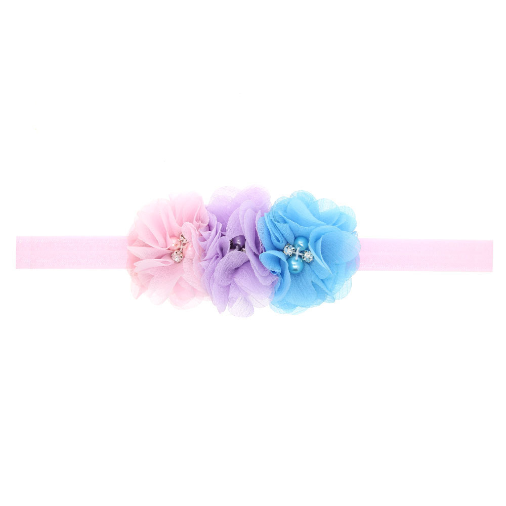 20Clrs New Fashion Hot children kids Baby girls pearl diamond 3 flowers Headband Headwear Hair Band Head Piece Accessories