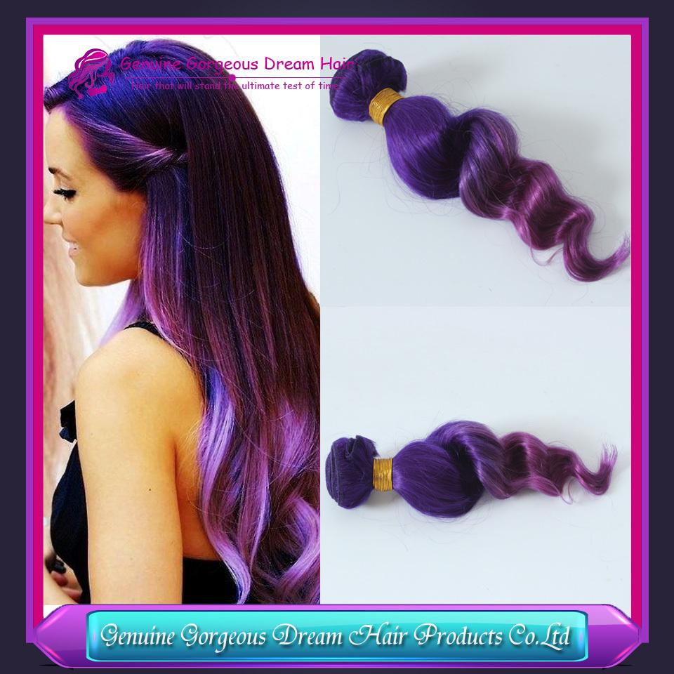 7A Ombre Peruvian Virgin Hair Loose Wave Human Hair Extension 3 Pcs Lot two tone purple/pink Hair Weave Bundles(China (Mainland))