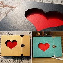 Creative Hollowed Heart Love Shape Photo Photography Image Album Scrapbook Green Cover DIY Craft Anniversary Gift(China (Mainland))