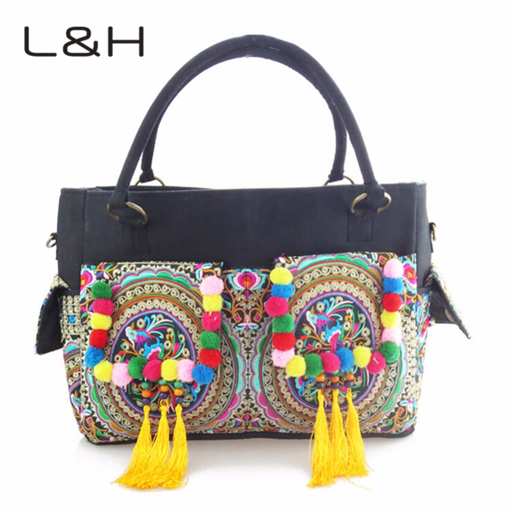 Neccessity For Dating Travel Ethnic Embroidery Canvas Bags Fashion Personality National Style Tassel Beads Shoulder Bag