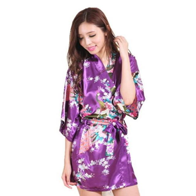 2015 мода женщины павлин кимоно японский стиль банный халат ночная рубашка платье ...