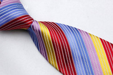 NT0103 Red Blue Pink Stripe Multicolor Smooth Jacquard Woven Classic Silk Polyester Man s Business Luxury