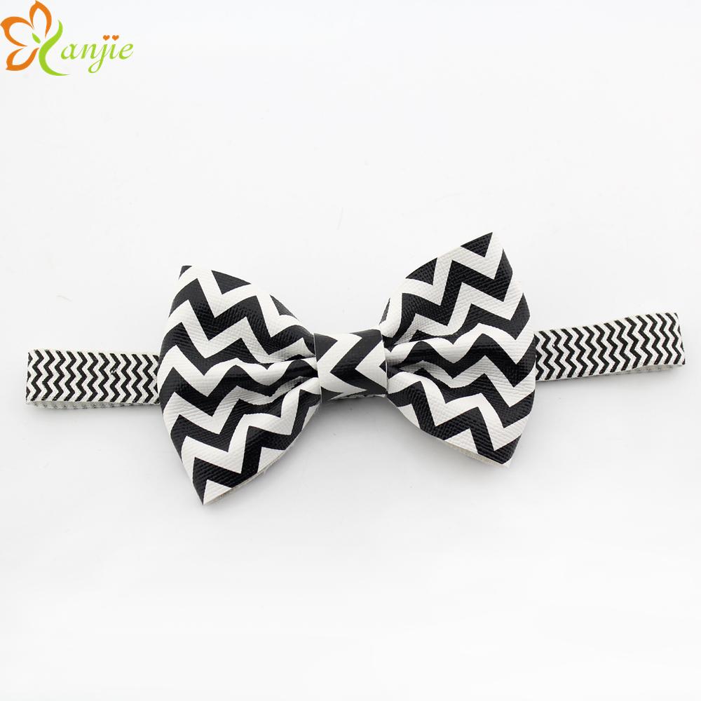 Hot-sale 20pcs/lot 4'' Big Black/White Bow Striped Headband For Baby girls Headband Hair Accessories(China (Mainland))