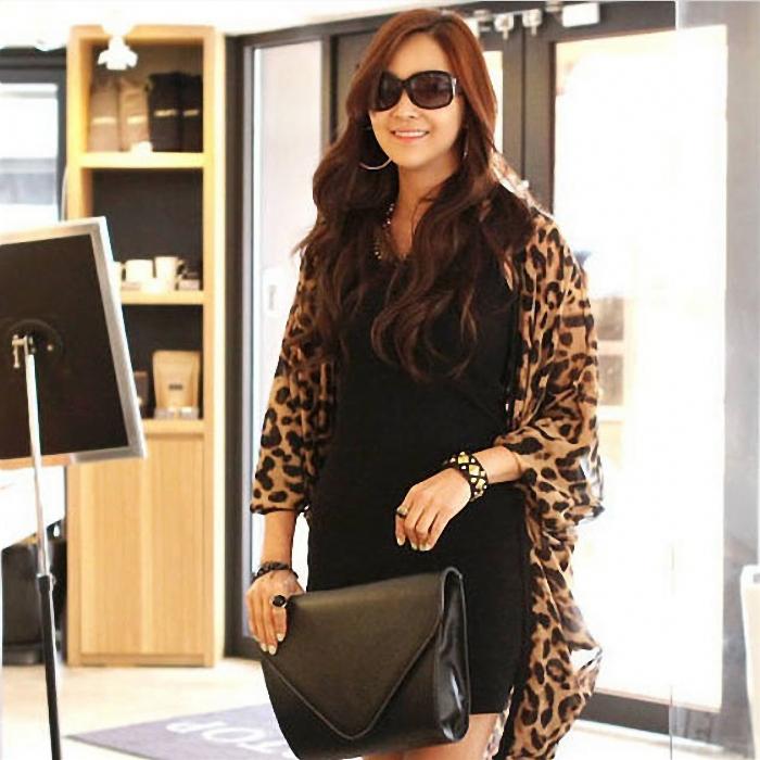 Vosicar Leopard Print Cape Sexy Tunic Chiffon Cardigan Lady Tops Shawl 2015 Hot Sale (China (Mainland))