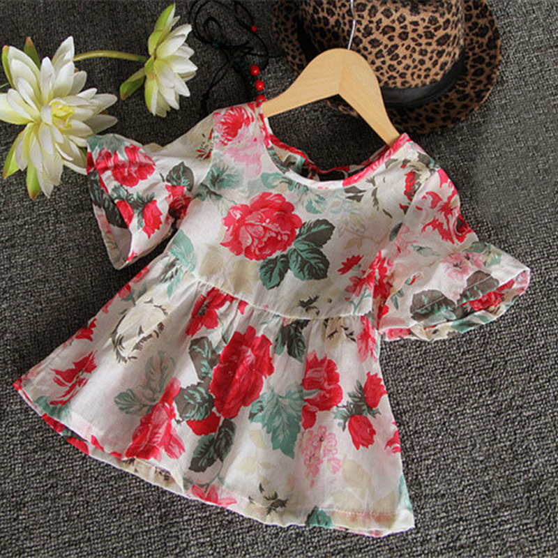 2016 Fashion Baby Kids Girls Casual Beautiful Floral Flouncing Shirt Tops Blouses Short Sleeve O Neck T-shirt 1-6Y