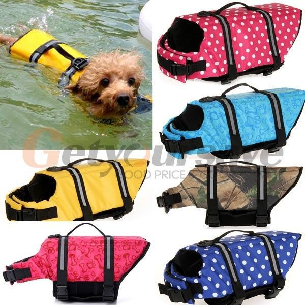 Pet Dog Swimmer Life Jacket Safety Vest Preserver XS Small Medium Extra Large(China (Mainland))