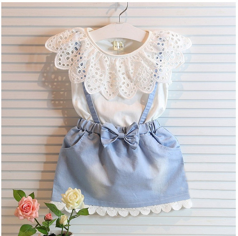 2015 New girls cute dress,white princess belt denim dress sleeveless cotton summer dress lovely baby girls clothes 3-8Yrs(China (Mainland))