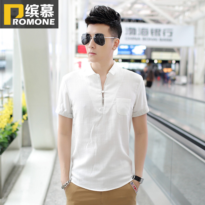 As for summer cotton flax men 39 s short sleeve t shirt male Shirts for thin guys