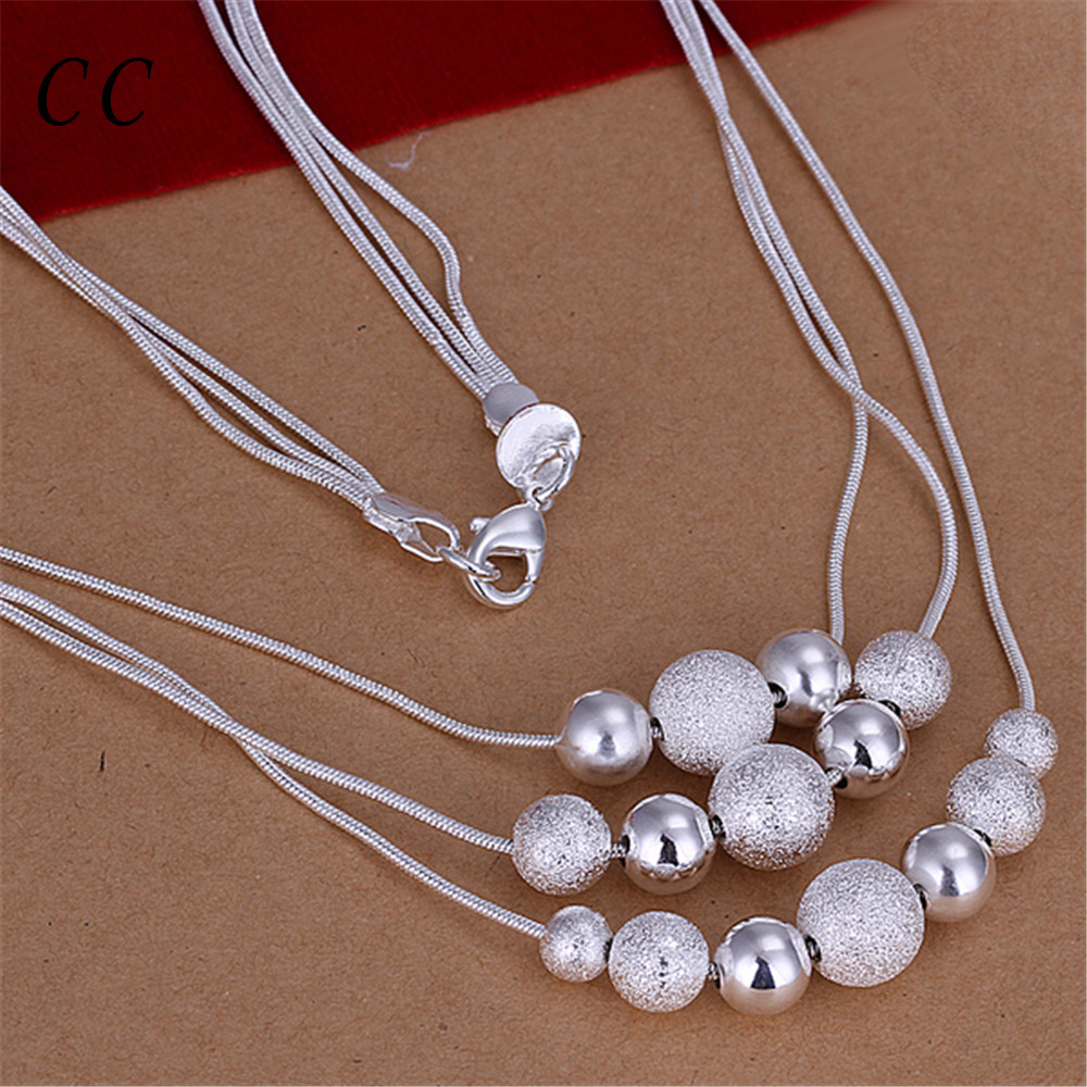 Three lines snake chain silver plated beads scrub ball pendants necklace for women casual simple trendy jewelry jewelry CCNE0714(China (Mainland))