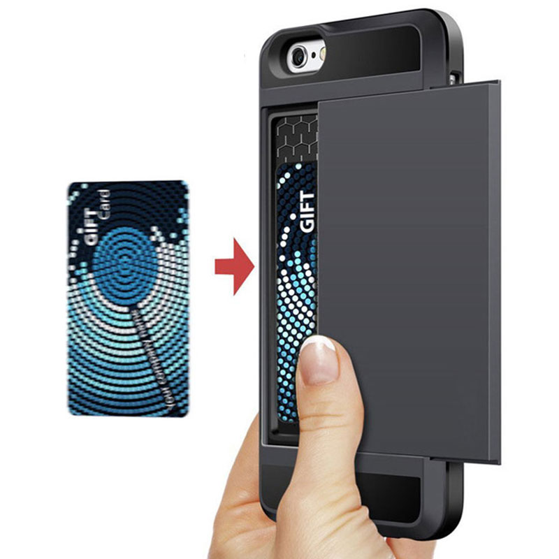 Armor Phone Cases for iPhone 5S SE 5 5C 6 S 6S 7 Plus Luxury Shell Silicone Plastic Credit Card Holder Slide Wallet Case Cover(China (Mainland))