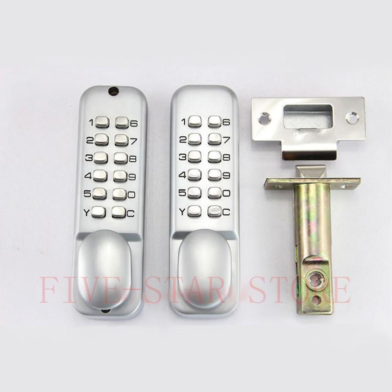 NEW mechanical double password keypads door lock digital code home door lock single latch silver bronze color(China (Mainland))