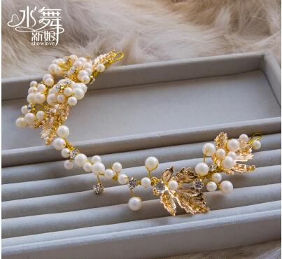 Free Shipping!Elegant Beaded Pearl Bride Hair Accessory Hairbands Fashion Wedding Jewelry Bridal Accessories SHG131(China (Mainland))