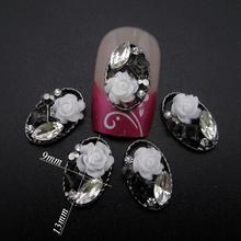 10pcs Luxury nail jewelry flower black glitter nail decorations 3d alloy nail art supplies YNS110(China (Mainland))