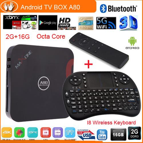 A80 TV BOX Android 4.4 tv box Octa-Core 2G/16G H.265 dual band wifi 2,4G/5.8G media player set top box+I8 Wireless keyboard(China (Mainland))