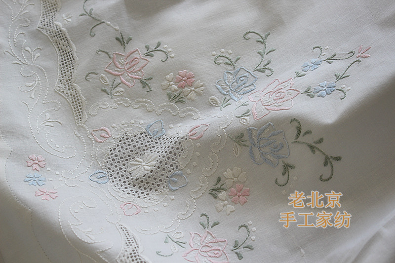 free shipping 100 cotton shabby chic vintage handmade embroidery bed sheet bedding bedclothes with two