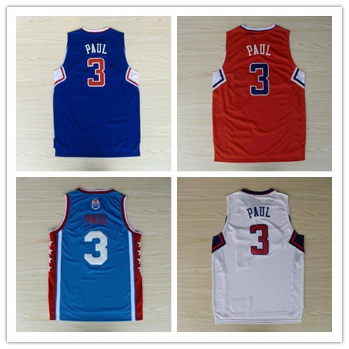 Fabric best quality jerseys clippers 3 Paul ABA acura mesh basketball jerseys free shipping(China (Mainland))